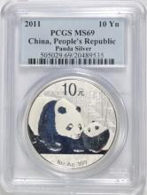 2011 CHINA SILVER PANDA, PCGS MS-69