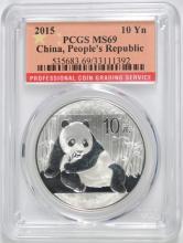 2015 CHINESE SILVER PANDA, PCGS MS-69