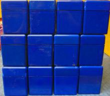 ( 12 ) USED BLUE PCGS SLABBED COIN BOXES WITH LIDS, EACH BOX HOLDS ( 20 ) COINS