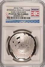 2014 BASEBALL HALL OF FAME SILVER DOLLAR, NGC PROOF-69 EARLY RELEASE!!  WOW!!