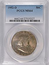 1952-D FRANKLIN HALF DOLLAR, PCGS MS-64 WITH TONING ON THE OBVERSE