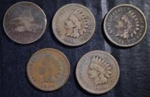 COLLECTOR LOT: 1857 FLYING EAGLE CENT, 2-1859, 1862 & 1904 INDIAN CENTS