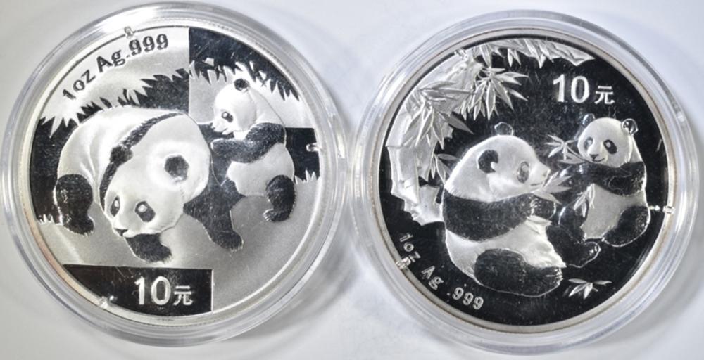 2006 & 2008 1 OZ SILVER CHINA PANDAS