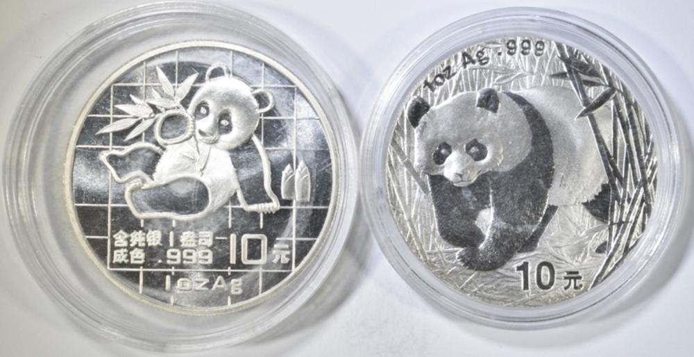 1989 & 2001 1 OZ SILVER CHINA PANDAS