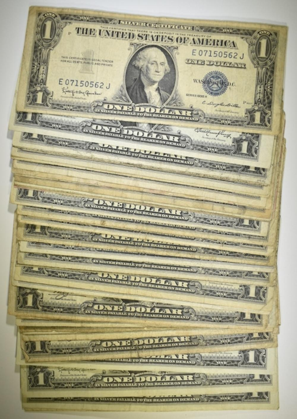 40 MIXED DATE $1.00 SILVER CERTIFICATES