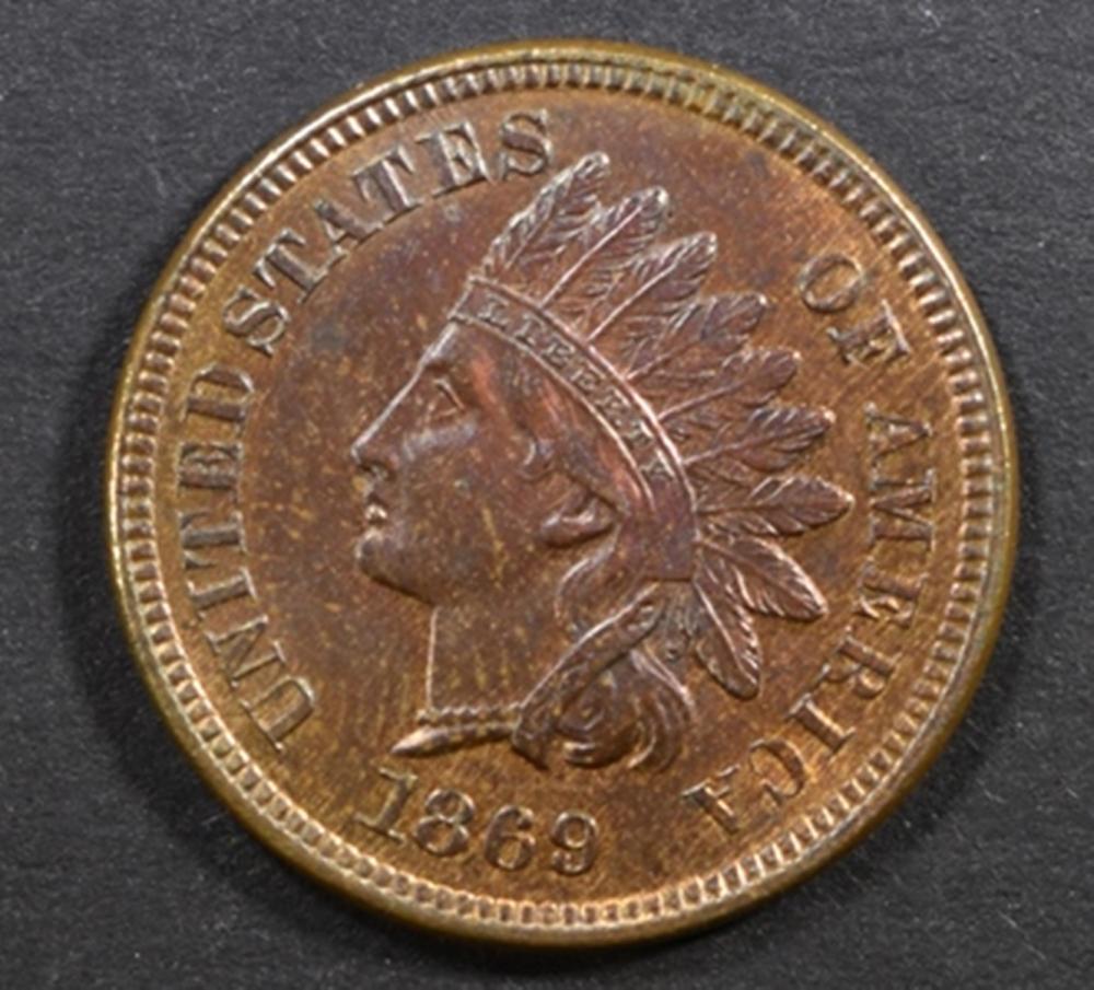 1869 INDIAN HEAD CENT GEM UNC RB SUPERB!