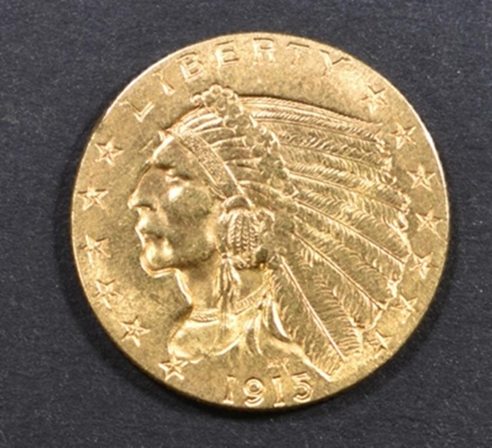 1915 GOLD $2.5 INDIAN CH BU