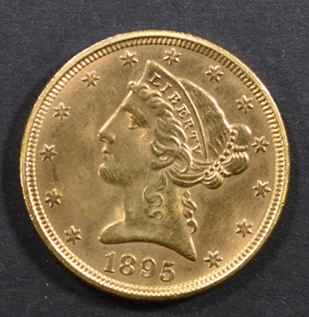1895 GOLD $5 LIBERTY CH BU