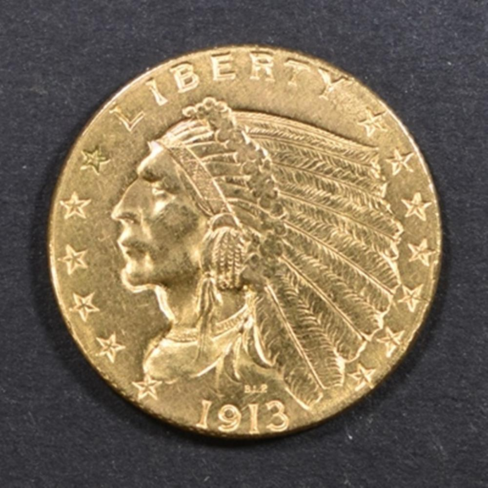 1913 GOLD $2.5 INDIAN CH BU