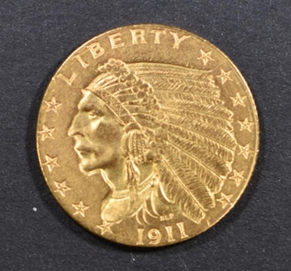 1911-D GOLD $2.5 INDIAN CH/GEM BU