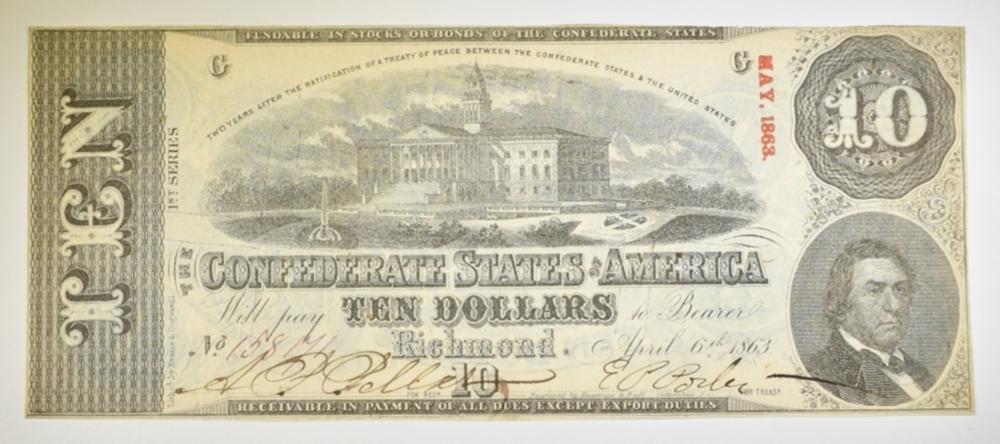 1863 $10 CONFEDERATE NOTE CU