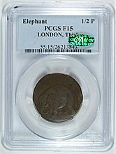 ELEPHANT 1/2P TOKEN LONDON THICK PCGS F-15 CAC