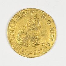1749 CHILE 4 REAL GOLD FERDINAND VI  (LA LUZ SHIPWRECK) NICE BU