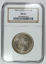 1936 CLEVELAND COMMEMORATIVE HALF DOLLAR BEAUTIFUL TONE NGC MS-65 LOOKS NICER