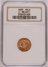 1929 $2.50 GOLD INDIAN NGC MS-63