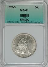1876-S SEATED HALF DOLLAR, EMGC  CHOICE BU