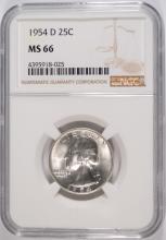 1954-D WASHINGTON QUARTER, NGC MS-66 NGC PRICE GUIDE=$90.00