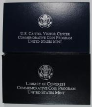 2-Pf COMMEM SILVER DOLLARS 2000 LIBRARY OF CONGRESS & 01 CAPITOL VISITORS CENTER