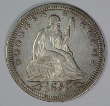 1853 ARROWS & RAYS SEATED LIBERTY QUARTER, AU/BU