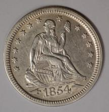 1854 ARROWS SEATED QUARTER, AU/BU