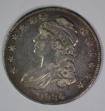 1834 CAPPED BUST HALF DOLLAR, CHOICE AU