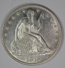 1875 SEATED HALF DOLLAR, CHOICE BU