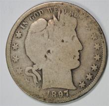 1897-S BARBER HALF DOLLAR AG/G  KEY COIN