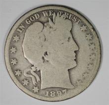 1897-O BARBER HALF DOLLAR AG/G  KEY COIN