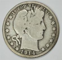 1914 BARBER HALF DOLLAR VG  KEY COIN