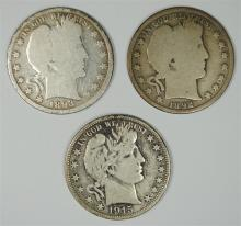 1915-D FINE, 1892, 1893 G BARBER HALF DOLLARS