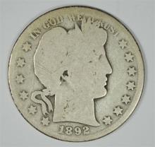 1892-O BARBER HALF DOLLAR AG/G  KEY COIN