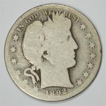 1892-S BARBER HALF DOLLAR AG/G  KEY COIN