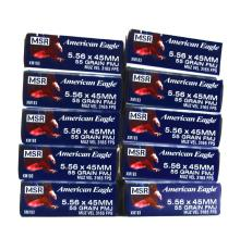 10 Boxes of American Eagle 5.56 x 45MM.