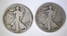( 2 )  1916 WALKING LIBERTY HALF DOLLAR,  GOOD