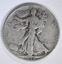 1938-D WALKING LIBERTY HALF DOLLAR, VG/FINE  KEY