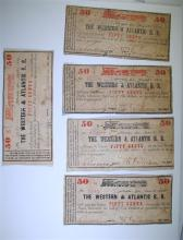 ( 5 ) 50-CENT NOTES FROM THE WESTERN & ATLANTIC RAIL ROAD DATED 1862