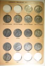 PARTIAL WALKING LIBERTY HALF DOLLAR SET IN DANSCO ALBUM 1916-47: SEE DESCRIPTION