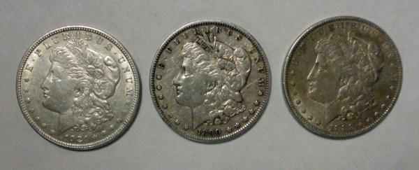 ( 3 ) THREE NICE CIRCULATED MORGAN SILVER DOLLARS