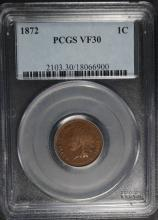 1872 INDIAN HEAD CENT, PCGS VF-30  KEY COIN!