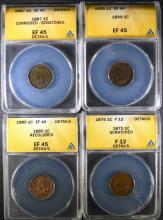 4 - ANACS GRADED INDIAN HEAD CENTS; 1875 F12 Details, 1885 EF45 Details, 1887