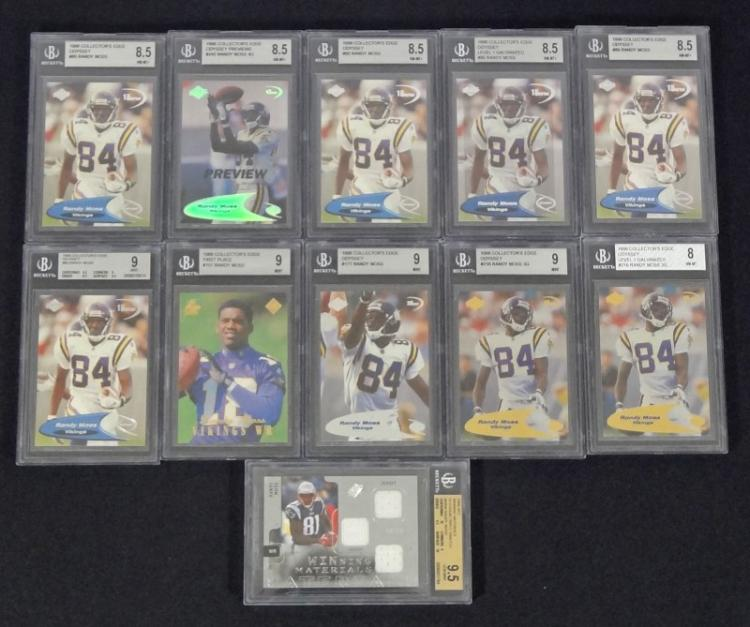 the latest ae495 e854d 10-RANDY MOSS ROOKIE CARDS & 1 JERSEY CARD, ALL BECKETT GRADED