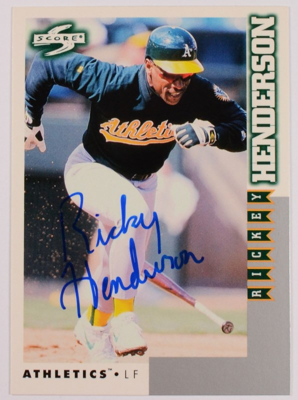 reputable site 62fda f1f9d RICKEY HENDERSON AUTOGRAPHED SCORE BASEBALL CARD