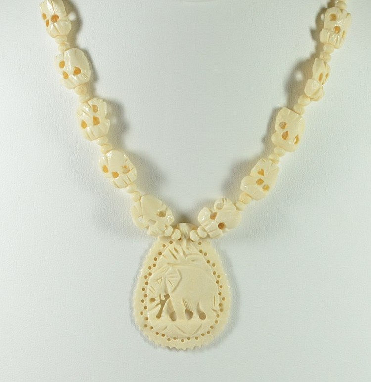 Vintage Jewelry Carved Bone Necklaces Three Exquisite