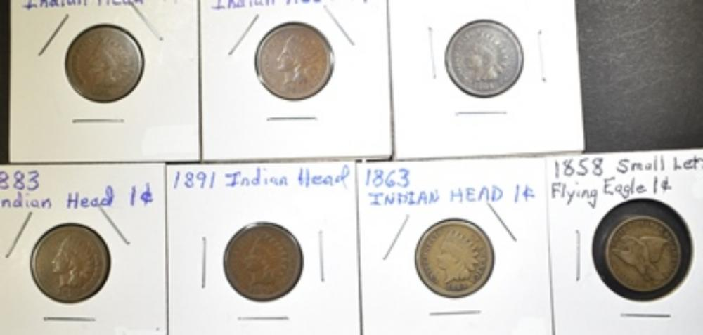 LOT OF 7 SMALL CENTS: