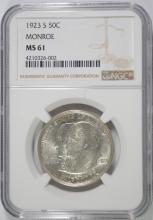 1923-S MONROE COMMEMORATIVE HALF NGC MS-61