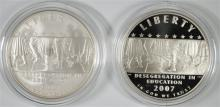 2007 LITTLE ROCK DESEGREGATION Pf & UNC COMMEMORATIVE SILVER DOLLARS IN BOX/COA