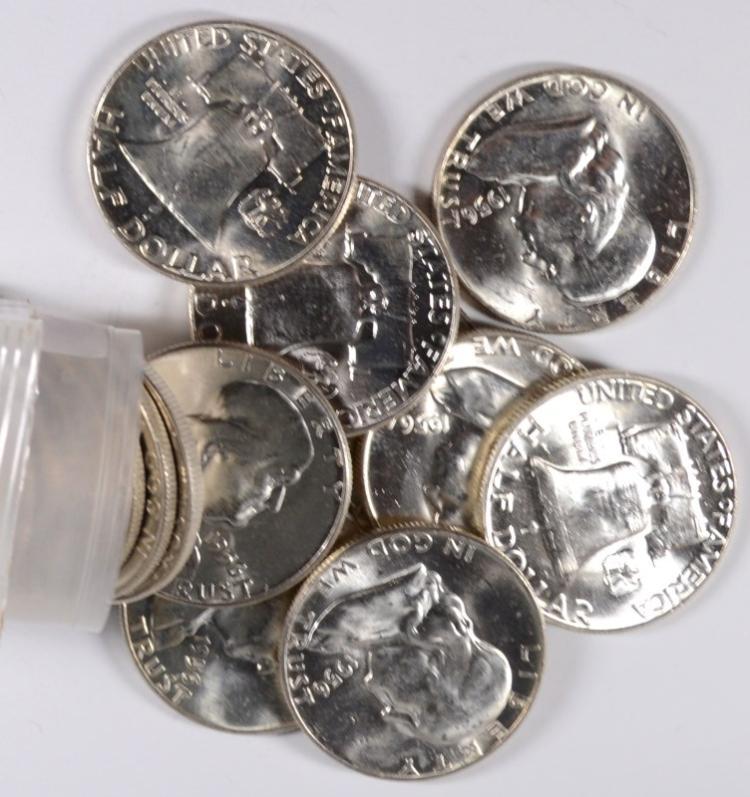 Original BU Roll of 20 1956 Franklin Half Dollars