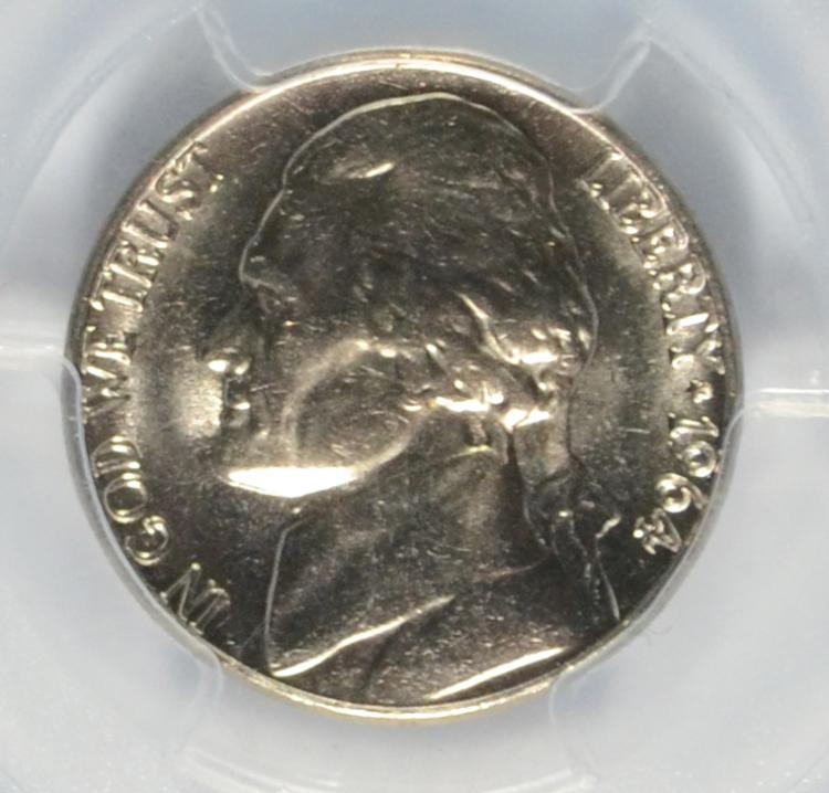 Lot 145 1964 D JEFFERSON NICKEL PCGS MS 66 TOP POP