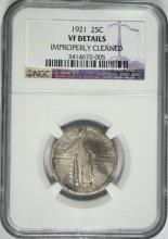 1921 STANDING LIBERTY QUARTER, NGC VF  (cleaned)