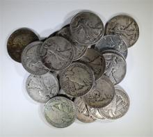 20 - WALKING LIBERTY HALF DOLLARS 90%